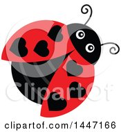 Clipart Of A Cute Ladybug With Black Heart Shaped Dots Royalty Free Vector Illustration