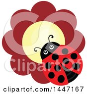 Clipart Of A Cute Ladybug On A Red Flower Royalty Free Vector Illustration by visekart