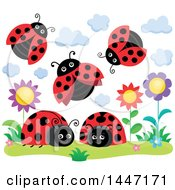 Clipart Of A Group Of Ladybugs And Flowers Royalty Free Vector Illustration