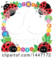 Clipart Of A Cute Ladybug And Flower Frame Royalty Free Vector Illustration by visekart