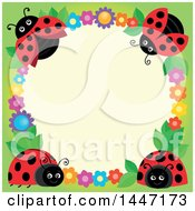 Cute Ladybug And Flower Frame On Beige And Green