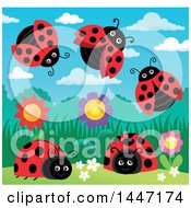 Clipart Of A Group Of Ladybugs And Flowers In A Garden Royalty Free Vector Illustration