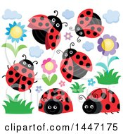Clipart Of Ladybugs And Flowers Royalty Free Vector Illustration by visekart