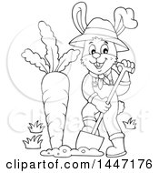 Clipart Of A Cartoon Black And White Happy Gardener Bunny Rabbit Digging Up A Giant Carrot Royalty Free Vector Illustration