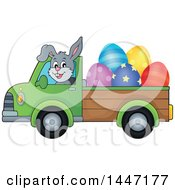 Cartoon Happy Easter Bunny Rabbit Transporting Eggs In A Pickup Truck
