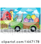 Clipart Of A Cartoon Happy Easter Bunny Rabbit Transporting Eggs From A Farm In A Pickup Truck Royalty Free Vector Illustration by visekart