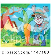 Clipart Of A Cartoon Happy Gardener Bunny Rabbit Digging Up A Giant Carrot In A Yard Royalty Free Vector Illustration