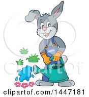 Clipart Of A Cartoon Happy Gardener Bunny Rabbit Using A Watering Can Royalty Free Vector Illustration