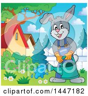 Clipart Of A Cartoon Happy Gardener Bunny Rabbit Using A Watering Can In A Yard Royalty Free Vector Illustration