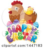 Clipart Of A Happy Easter Greeting With A Hen Eggs And Chick Royalty Free Vector Illustration