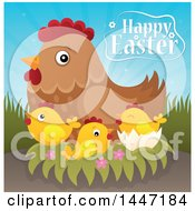 Poster, Art Print Of Happy Easter Greeting With A Hen And Chicks On A Nest