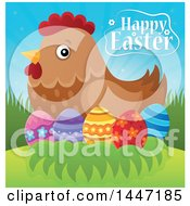 Happy Easter Greeting With A Hen And Eggs On A Nest