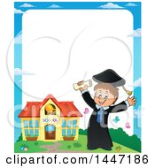 Clipart Of A Border Of A Cartoon Caucasian Boy Graduate Cheering By A School Royalty Free Vector Illustration by visekart