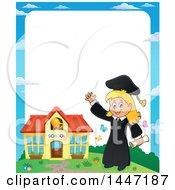 Poster, Art Print Of Border Of A Cartoon Caucasian Girl Graduate By A School