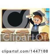 Poster, Art Print Of Cartoon Caucasian Boy Graduate Cheering By A Black Board