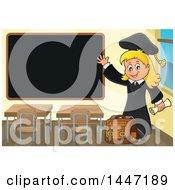 Poster, Art Print Of Cartoon Caucasian Girl Graduate Waving By A Black Board