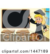 Clipart Of A Cartoon Caucasian Girl Graduate Waving By A Black Board Royalty Free Vector Illustration by visekart