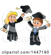 Clipart Of A Cartoon Caucasian Girl Graduate Tossing Her Cap And Boy Cheering Royalty Free Vector Illustration by visekart