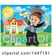 Poster, Art Print Of Cartoon Caucasian Boy Graduate Cheering By A School