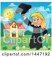 Poster, Art Print Of Cartoon Caucasian Girl Graduate Tossing Her Cap