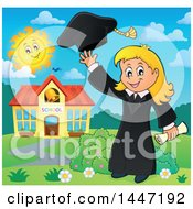 Clipart Of A Cartoon Caucasian Girl Graduate Tossing Her Cap Royalty Free Vector Illustration by visekart