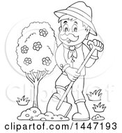 Clipart Of A Black And White Lineart Male Gardener Planting A Tree Royalty Free Vector Illustration