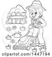 Clipart Of A Black And White Lineart Male Gardener Or Landscaper Mowing A Lawn Royalty Free Vector Illustration