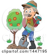 Clipart Of A Cartoon Caucasian Male Gardener Planting A Tree Royalty Free Vector Illustration