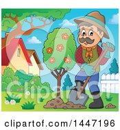 Cartoon Caucasian Male Gardener Planting A Tree In A Yard