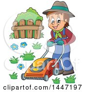 Clipart Of A Cartoon Caucasian Male Gardener Or Landscaper Mowing A Lawn Royalty Free Vector Illustration