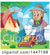 Clipart Of A Cartoon Caucasian Male Gardener Or Landscaper Mowing A Yard Royalty Free Vector Illustration