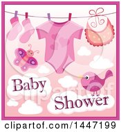 Clipart Of A Pink Girl Baby Shower Design With A Onesie Socks And Bib On A Clothesline Over A Butterfly And Bird With Clouds Royalty Free Vector Illustration by visekart