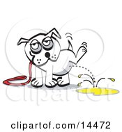 White Dog On A Leash Lifting His Leg And Urinating Clipart Illustration by Andy Nortnik