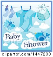 Clipart Of A Blue Boy Baby Shower Design With A Onesie Socks And Bib On A Clothesline Over A Butterfly And Bird With Clouds Royalty Free Vector Illustration