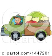 Clipart Of A Cartoon Caucasian Male Farmer Transporting His Harvest In A Pickup Truck Royalty Free Vector Illustration