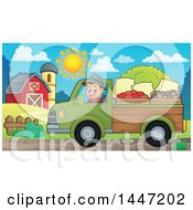 Clipart Of A Cartoon Caucasian Male Farmer Transporting His Food In A Pickup Truck Royalty Free Vector Illustration by visekart