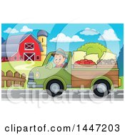 Cartoon Caucasian Male Farmer Transporting His Food In A Pickup Truck