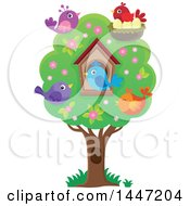 House And Birds In A Tree With Spring Blossoms