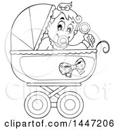 Clipart Of A Black And White Lineart Baby Girl Playing With A Rattle In A Baby Stroller Royalty Free Vector Illustration