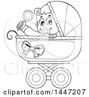 Clipart Of A Black And White Lineart Baby Boy Playing With A Rattle In A Baby Stroller Royalty Free Vector Illustration