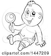 Poster, Art Print Of Black And White Lineart Baby Boy Playing With A Rattle