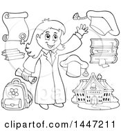 Poster, Art Print Of Cartoon Black And White Lineart Graduate Girl And School Items