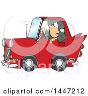 Clipart Of A Cartoon Caucasian Guy Backing Up A Red Classic Car Royalty Free Vector Illustration