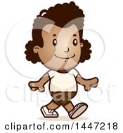 Clipart Of A Retro African American Girl Walking In Shorts Royalty Free Vector Illustration