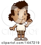 Retro Waving African American Girl In Shorts