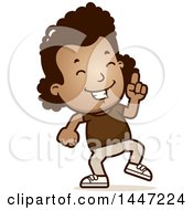 Clipart Of A Retro African American Girl Doing A Happy Dance Royalty Free Vector Illustration