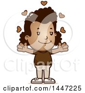 Clipart Of A Retro African American Girl With Open Arms And Love Hearts Royalty Free Vector Illustration
