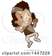 Clipart Of A Retro African American Girl Jumping Royalty Free Vector Illustration