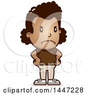 Clipart Of A Retro Angry African American Girl With Hands On Her Hips Royalty Free Vector Illustration by Cory Thoman