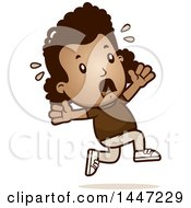 Clipart Of A Retro African American Girl Running Scared Royalty Free Vector Illustration by Cory Thoman